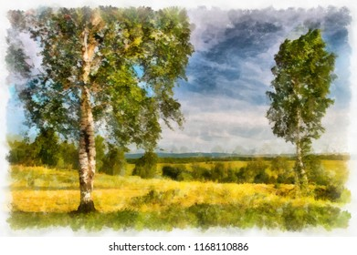 Summer landscape with birches. watercolor. Digital painting