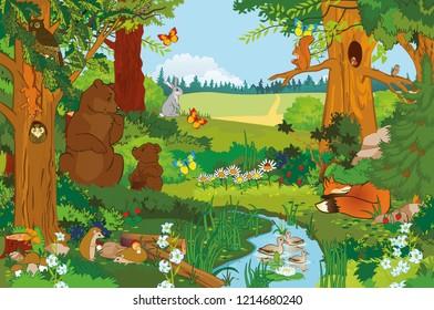 Summer landscape for fabulous illustration