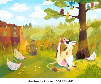 Summer landscape with farm animals. digital painting