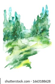 Summer  landscape, green forest, park. Silhouettes of trees and bushes. Linear curb. Mixed forest - oak, ash, maple, birch, pine, cedar, spruce. Watercolor paint splash. Scenery. Watercolor painting
