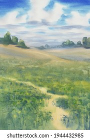 Summer landscape with a meadow and clouds watercolor background. Hand painted illustration