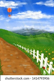 Summer landscape with meadows, forest, mountains, sky and balloon. Background. Illustration.