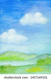 Summer landscape painting. Blue sky with cumulus clouds. A small lake among green hills.