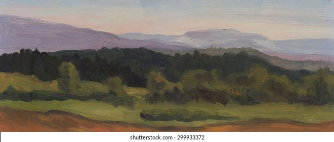Summer landscape, panorama. Mountains, forest. Oil painting