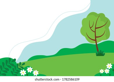Summer landscape of the Park with trees and flowers. Cute background in flat style.
