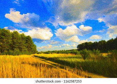 Summer landscape with a road in the fields, oil paint. Digital structure of painting