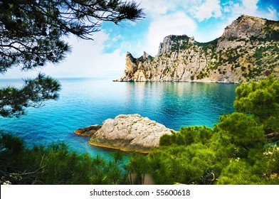 summer landscape with sea and mountains