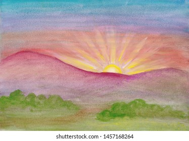 Summer landscape at sunrise. Gouache painting. Early morning in the mountains. The sun's rays shine from behind the mountains, the sky is colored by beautiful sunshine. Nature landscape painting.