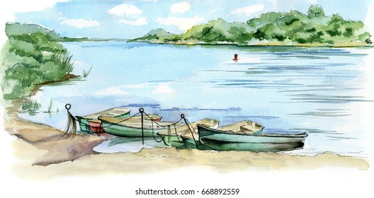 Summer landscape watercolor, boats on a river