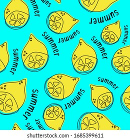 Summer lemon seamless pattern with text