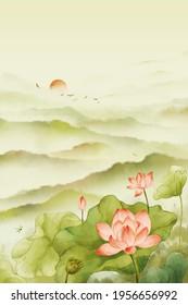 Summer lotus ink painting. Gradient watercolor illustration