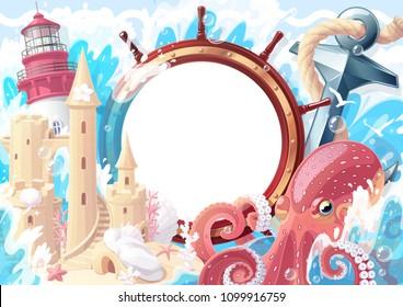 Summer maritime collage frame template for photo. Lighthouse, anchor, octopus, handwheel, sandcastle sea ocean. Nautical, aqua, marine, naval illustration. Adventure travel surreal happy clipart