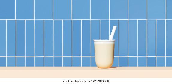 Summer mockup background for product presentation. Milk tea, beige podium on blue ceramic tile. Clipping path included. 3d rendering illustration.