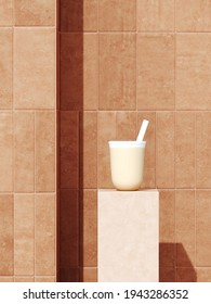 Summer mockup background for product presentation. Milk tea, beige terracotta podium on brown rustic ceramic tile. Clipping path included. 3d rendering illustration.