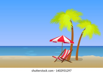 Summer mood beautiful sandy beach in evening time raster illustration empty shore single striped lounger with umbrella under palm trees poster.