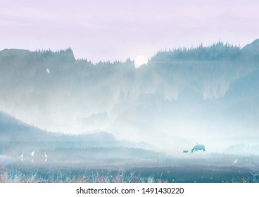 Summer morning sun rises from the mountain side cattle at the foot of the mountain graze on the edge of the field Chinese style illustration background poster