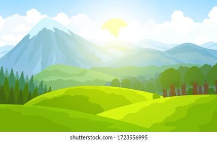 Summer mountain landscape. Green valley