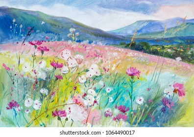 Summer in the mountains.  Oil painting