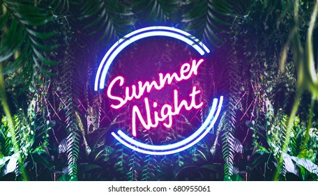 Summer Night neon font light in tropical jungle with tropic leaves, exotic palm leaf, rainforest plant. For your unique neon summer poster ; party invitation, poster, beach party, banner,