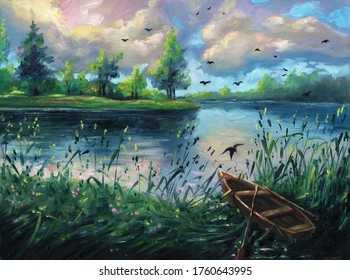 Summer oil painting nature forest landscape background on canvas with evening sunset, lake, green trees, clouds, blue sky, outdoor hand drawn illustration with reflections on river, drawing art.