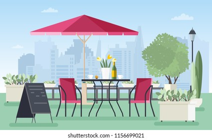 Summer outdoor cafe, coffeehouse or restaurant with table, chairs, umbrella and welcome board standing on city street against skyscrapers on background. Colorful illustration in flat style.