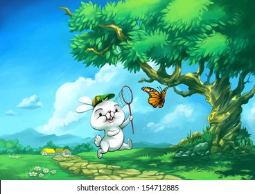 Summer outdoor cartoon Bunny and Butterfly Funny Happy children illustration bright colors nature animals trees village Playing outside nice weather