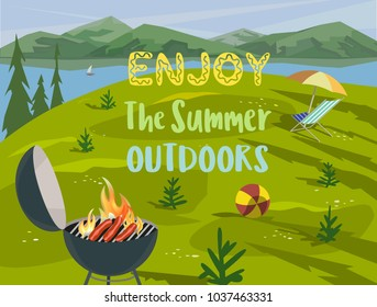 Summer outdoors concept. Cartoon retro style poster. Welcome invitation to barbecue picnic. Season holiday leisure banner background. Mountain valley, lake, green hills. Flaming BBQ grill illustration