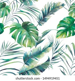 Summer palm tree and banana leaves seamless pattern. Watercolor green branches on white background. Hand drawn exotic wallpaper design
