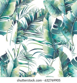 Summer palm tree and banana leaves seamless pattern. Watercolor texture with green branches on white background. Hand drawn tropical wallpaper design
