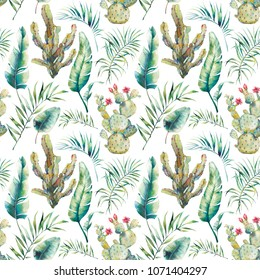 Summer palm tree, cactus and banana leaves seamless pattern. Watercolor green branches and flowering succulent on white background. Exotic wallpaper design