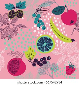 Summer pattern with fruits, berries and leaves. Seamless texture design.