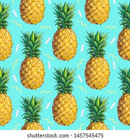 Summer pattern with pineapples on a mint background