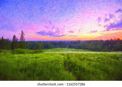 Summer red sunset in the field, in oil paints. Digital structure of painting