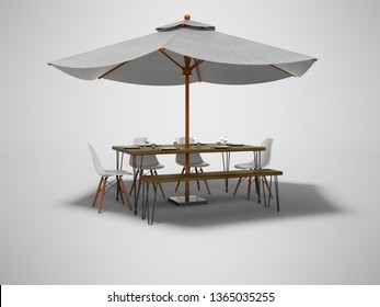 Summer restaurant umbrella with wooden table and chairs 3d render on gray background with shadow