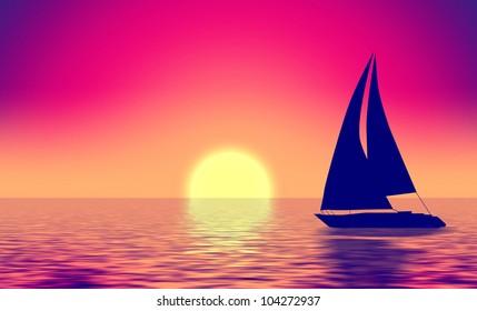 Summer retro illustration boat silhouette in sea and sun