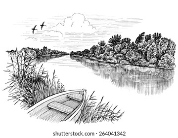 Summer riverbank landscape, ink drawing