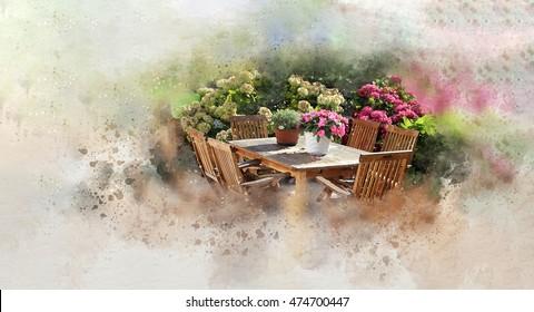 Summer Romantics Summer home garden with garden table set flowerpots and flower bushes. From the 'Fine Art Interpretations'-series.