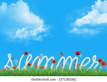 summer rope text in green grass with red poppy flowers and butterfly