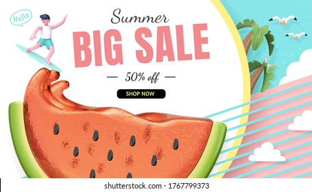 Summer sale banner, cute character riding watermelon juice waves, 3d illustration