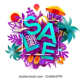 Summer sale banner with paper cut leaves, palms, airplane, sun, ball. Symbol concept for paradise, resort and tourists banner, flyer, poster, web site. Paper art cut out, Raster copy illustration