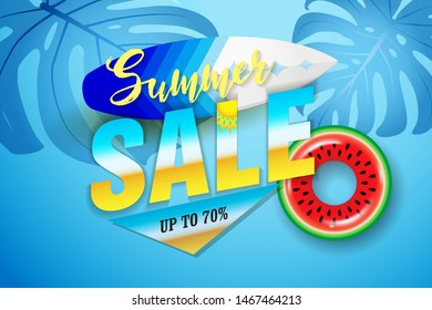 Summer sale banner with tropical leaves, swim ring and surfboard design for banner, flyer, invitation, poster, web site or greeting card.