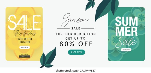 Summer Sale banner, yellow and green color, Seasons greetings, Space for text