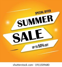 summer sale business poster with white ribbon. Clean text on yellow background