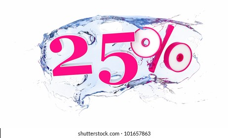 Summer sale or discount tags 25  percent water splash