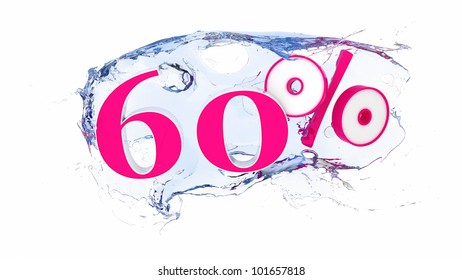 Summer sale or discount tags 60 percent water splash
