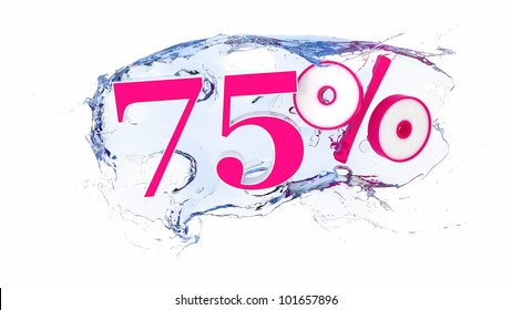 Summer sale or discount tags 75 percent water splash