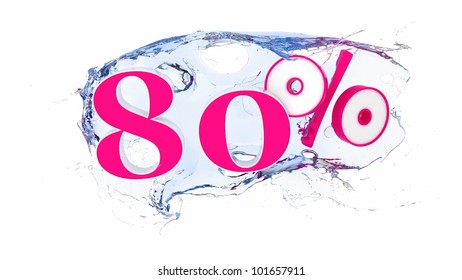 Summer sale or discount tags 80 percent water splash