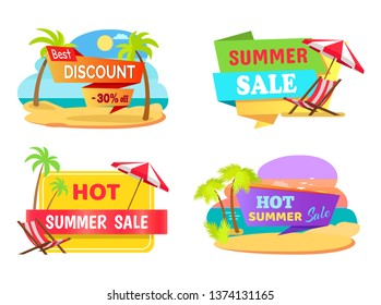 Summer sale emblems with tropical beaches set. best discount stickers palms and sandy beaches. only in raster illustrations.