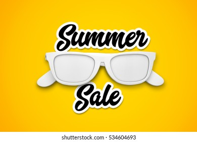 Summer sale message with white sunglasses on a bright yellow background. 3d rendering