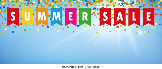 summer sale party flags banner with confetti rain on blue sunny background  illustration